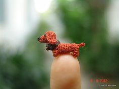 0.4 inch miniature brown Dachshund dog - Micro amigurumi crochet animal Check out www.missdollhouse.com
