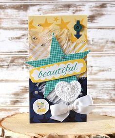 Bella Blvd Lucky Starz Collection. Crochet Hearts. Feathers. Beautiful Card by DT member Laurie Schmidlin