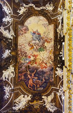 Decorated ceiling of Santa Maria della Vittoria, Rome, Italy. https://victortravelblog.com/2013/08/19/song-about-rome/