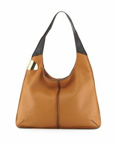 Leather Sack Hobo Bag, Tan Multi at CUSP.