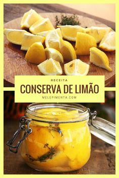 Conserva de Limão Siciliano    Quer ter limões sicilianos por muito tempo. Veja essa receita e aprenda a conservar limões. você pode usar para temperar carnes, cuscuz, risotos e muitos outros pratos. Jam Recipes, Veggie Recipes, Gluten Free Recipes, Chutney, Cooking Tips, Cooking Recipes, Preserved Lemons, Liqueur, Antipasto