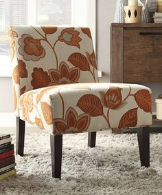 Another great find on #zulily! Orange Floral Nevins Slipper Chair #zulilyfinds