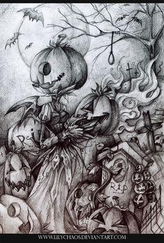Halloween scene on deviantart Halloween Artwork, Halloween Prints, Halloween Pictures, Halloween Cards, Holidays Halloween, Vintage Halloween, Happy Halloween, Halloween Decorations, Halloween Scene