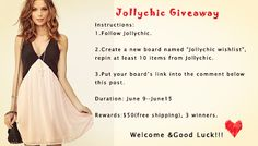 Jollychic Giveaway  The winner will be picked up via random.org& published on 16th June(GMT+8).  Welcome to Join us!