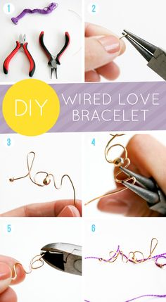 DIY Wired Love Bracelet inspired by Max & Chloe Bracelet Set, Bracelet Making, Jewelry Making, Jewelry Crafts, Handmade Jewelry, Diy Jewellery, Jewelry Ideas, Do It Yourself Baby, Diy Fashion Accessories