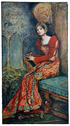 "Elizabeth Adela Forbes - ""La Demoiselle Sauvage"", illustration for ""King Arthur's Wood"" Art And Illustration, Illustrations, Fairytale Art, Pre Raphaelite, King Arthur, Art Nouveau, Fantasy Art, Fairy Tales, Fine Art"