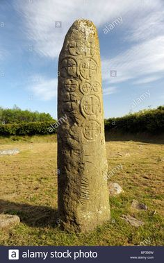 Kilnasaggart Pillar Stone in the early Celtic Christian monastic site near Jonesboro, County Armagh, Northern Ireland, Stock Photo