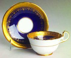 Aynsley, John Georgian Cobalt (Scalloped) Footed Cup & Saucer Set