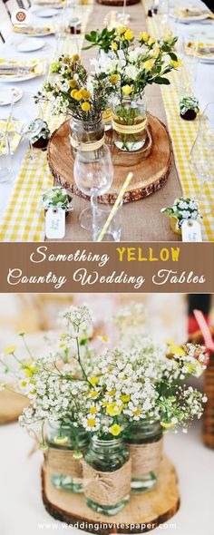 Top 37 Remarkable Rustic Wedding Centerpieces---mason jar flowers with baby breath and twine on wooden slices. Rustic Wedding Groomsmen, Rustic Weddings, Country Weddings, Rustic Wedding Centerpieces, Wedding Decorations, Mason Jar Flowers, Mandala, Baby Shower, Wedding Table Settings