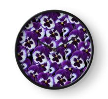 Delightful Purple And White Pansy Bouquet Clock