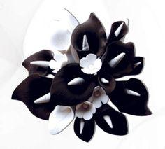 Black & White Calla Lily Cake Topper - Medium