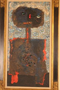 Figural oil painting with stone collage and straw for hair ...Enrico Baj