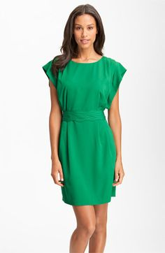 Eliza J Drape Sleeve Sash Belt Dress (Regular & Petite) available at #Nordstrom (Very Green but I'll take it....cute)