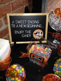 Graduation Party Ideas. Candy bar sign. Candy bar. Graduation decorations by felicia Graduation Party Ideas High School, Graduation Party Foods, Outdoor Graduation Parties, Graduation Celebration, 8th Grade Graduation, Graduation Theme, Graduation Desserts, Graduation Images, Grad Parties