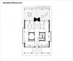Plano de arquitectura de proyecto de planta cuadrada