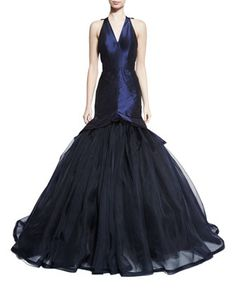 Sleeveless V-Neck Mermaid Gown, Navy by Zac Posen at Bergdorf Goodman.
