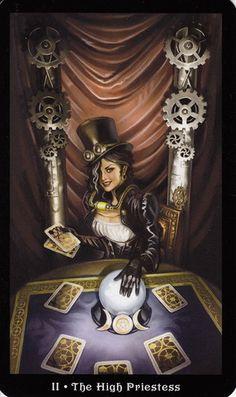 Steampunk Tarot ~ The Priestess ~ Barbara Moore & Aly Fell (artist) Steampunk, Vampires, Barbara Moore, The Hanged Man, Tarot Card Meanings, Tarot Card Decks, Tarot Spreads, Major Arcana, Oracle Cards