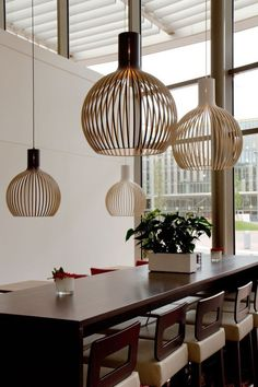 Octo 4240 pendants by Secto Design at Hampton by Hilton Schiphol Airport Hotel. Photo by: Ellen Swaan Pendant Lamp, Pendant Lighting, Wood Waste, Wooden Lampshade, Lighting Concepts, Home Design, Interior Design, Cool Lighting, Decoration