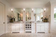 Traditional Master Bathroom with Undermount Sink, penny tile floors, frameless…