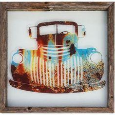 Recherche Rustic Reclaimed Framed Glass Old Truck Wall Décor