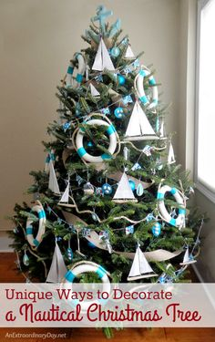 Fun and Unique Ways to Decorate a Nautical Christmas Tree | Handmade Coastal Christmas ornaments to fit a penny pincher's budget.