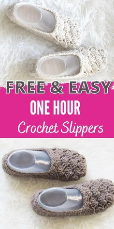 This one hour slipper will be your go to crochet pattern for slippers. This free pattern for women is designed using simple shell stitches and is easy and quick to crochet. The beginner friendly tutorial will help you make a pair of ballet style slippers in no time. #crochetslippers, #crochetslippersfreepattern, #crochetslipperseasy, #freecrochetslipper, #onehourcrochetslipper Crochet Dog Sweater Free Pattern, Knit Slippers Free Pattern, Free Crochet Slipper Patterns, Diy Crochet Slippers, Diy Crochet Shoes, Crochet Stitches Patterns, Potholder Patterns, Crochet Designs, Quick Crochet