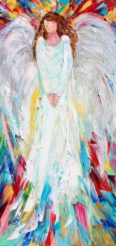 Original oil painting Angel of Joy abstract palette knife impressionism on canvas fine art by Karen Tarlton
