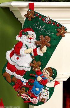 Bucilla Gingerbread Santa  16 Felt Christmas Stocking