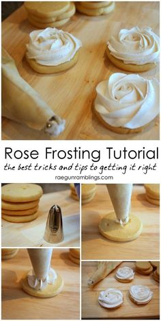 Rose Cookies Tutorial Rose Frosting Tutorial: Step by step instructions on how to make perfect roses out of frosting!Rose Frosting Tutorial: Step by step instructions on how to make perfect roses out of frosting! Rose Frosting, Cupcake Frosting, Cupcake Cakes, Fondant Cakes, 3d Cakes, Fondant Figures, Buttercream Ruffle Cake, Cupcake Piping, Frosting Flowers