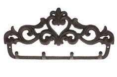 "Decorative Cast Iron Wall Hook Rack | Vintage Design Hanger with 4 Hooks | For Coats, Hats, Keys, Towels, Clothes, Aprons etc |Wall Mounted |13.6 x 7""- With Screws And Anchors By Comfify Comfify http://www.amazon.com/dp/B00W3DO2OC/ref=cm_sw_r_pi_dp_nPizwb0RQ2ZQW"