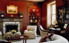 living rooms designed and decorated with paint and home furnishings in red colors