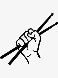 'Drummer drumsticks' Sticker by Designzz Hand Fist, Planner Doodles, Drum Band, Knick Knack, Kiss Band, I Tattoo, Rock And Roll, Drums, Fanart