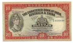 Banknotes of the Hong Kong dollar - Ten dollars banknote of 1948, issued by the Chartered Bank of India, Australia and China.  Obverse: Helmeted warrior. Reverse: Rice harvest and pagoda. Printed by Waterlow and Sons Limited, London England.
