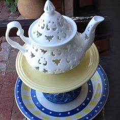 Handmade Up cycled  Garden Teapot Totem by GlassGardenGorgeous, $40.00