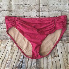 Bari Fuchsia Ruched Front Swimwear Bathing Suit Bikini Bottom Size 11  | eBay
