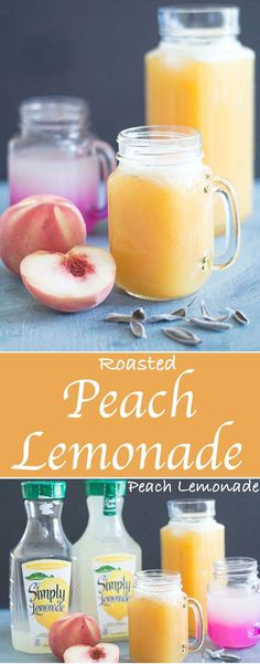 Roasted peach lemonade is very easy. Roast peaches with sage and then puree them. Sieve and add Simply lemonade original flavor. Best summer lemonade recipe  #Ad #AlwaysDelicious