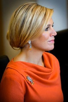 October 2, 2013... Queen Maxima of Netherlands wearing Natan dress and the Dutch royal house's Fire Opal jewels in Norway.