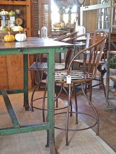 Industrial style metal bar stools with back