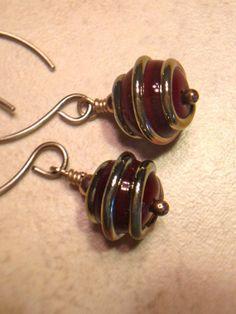 Red Glass Earrings Dangle Earrings Drop Earrings by LadonnaStudio, $24.00