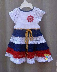 Crochet Dress Girl, Crochet Baby Jacket, Crochet Baby Dress Pattern, Baby Dress Patterns, Crochet Baby Clothes, Crochet Girls, Crochet For Kids, Knit Crochet, Baby Sweaters