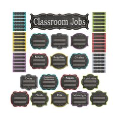 Create a colorful jobs board with this 52-piece set. Contains 10 titled job signs (playground equipment, papers, line leader, plants, messenger, pets, pencils, chairs, doors, and supplies), 5 blank jo