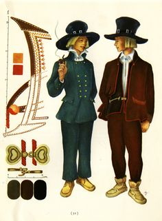 Sortavala men's suits taken from Suomalaisia Kansallispukaja [Finnish National Costume] by Tyyni Vahter, illustrations by Greta Strandberg and Alli Touri Folk Costume, Costumes, Costume Collection, Men's Suits, Folklore, Traditional Outfits, Finland, Scandinavian, Crafts