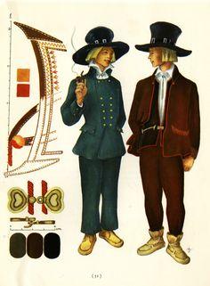 Sortavala men's suits taken from Suomalaisia Kansallispukaja [Finnish National Costume] by Tyyni Vahter, illustrations by Greta Strandberg and Alli Touri