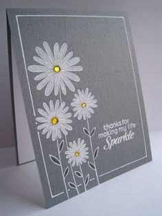 stamp, prisma pencil, how to make a card, white embossed cards, all white cards, daisi craze, white daisi