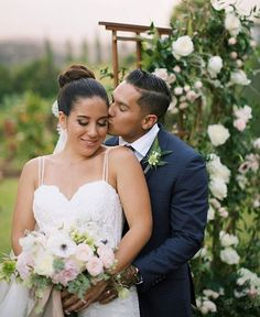 """I'll never stop falling in love with you"" - gorgeous bride and her handsome groom with bouquet and ceremony flowers by Teresa Sena Design - White Orchid Wedding - Anna Kim Photography"