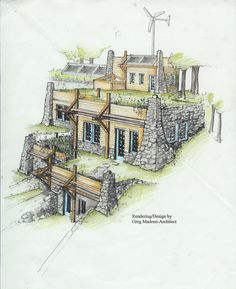 Concept design for a partially-earth-sheltered tiered home design with wind and solar power features