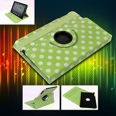 NEW APPLE IPAD MINI CASE COVER SWIVEL STAND POUCH PU GREEN 360 DEGREE ROTATING