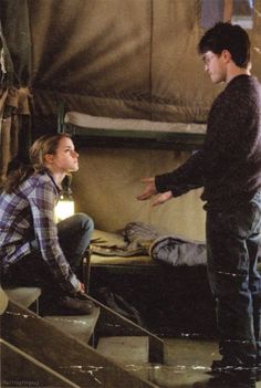in this scene harry can see how sad hermione is he can't help thinking she is like a sister and so he needs to get her happy