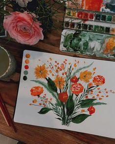 """Tanja von Die Handletterei on Instagram: """"#watercolorlove #floralillustration >>> SWIPE NACH RECHTS und schau dir das #illustrationmakingof  an, wenn du wissen möchtest, wie dieser…"""""""
