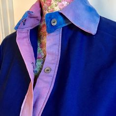 Royal blue and tie die print structured cotton shirt Royal Blue Shirts, Galaxy Fashion, Batwing Top, Silver Buttons, Tie Dyed, Are You The One, Galaxy Style, Fashion Beauty, Uni